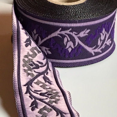 Purple Eternal Vine Trim 1 3/8 inch reversible Trim by the Yard