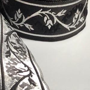 Black Silver Eternal Vine Trim 1 3/8 inch reversible Trim by the Yard