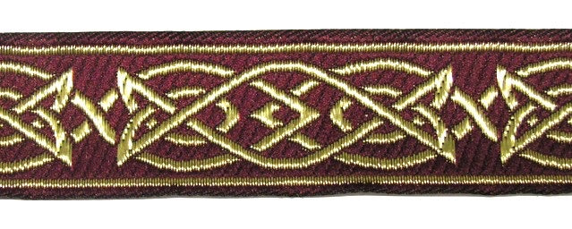 Burgundy Gold Saxon Knot Trim - Celtic Trim by the Yard