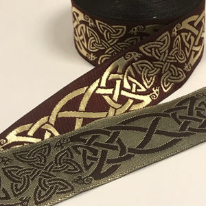 Burgundy Gold Spirit of Old Celtic Trim 1 3/8 inch Trim by the Yard