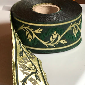 Green Gold Eternal Vine Trim 1 3/8 inch reversible Trim by the Yard