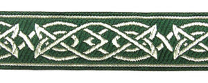 Green Silver Saxon Knot Trim - Celtic Trim by the Yard