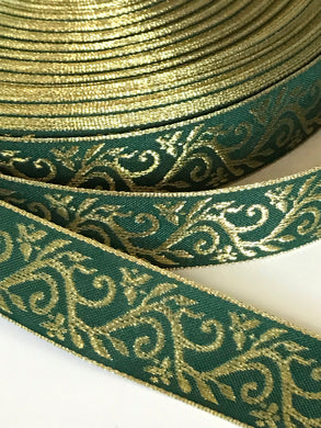 Green Gold Viking Vine Trim - Viking Trim by the Yard