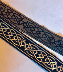 Blue Silver Saxon Knot Trim - Celtic Trim by the Yard
