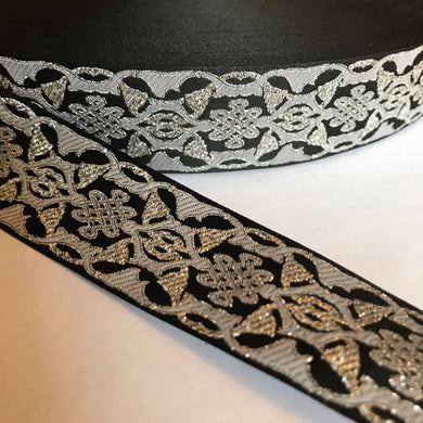 Black Silver Celtic Knot Trim - Celtic Trim by the Yard