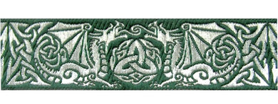 Green Silver Dragontyme Dragon Triquetra Trim 1 3/8 inch reversible Trim by the Yard