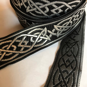 Black Silver Saxon Knot Trim - Celtic Trim by the Yard