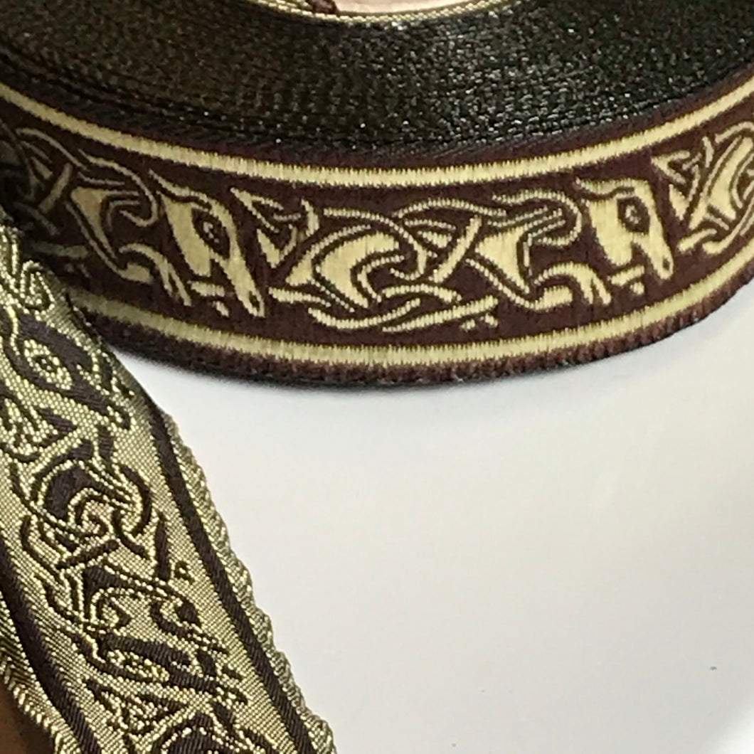 Narrow Brown Gold Running Dog Celtic Trim 1 inch reversible Trim by the Yard