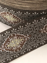 "Brown & Silver Medieval Persian Sewing Trim - 10 yards 15/16"" Fabric Trim"