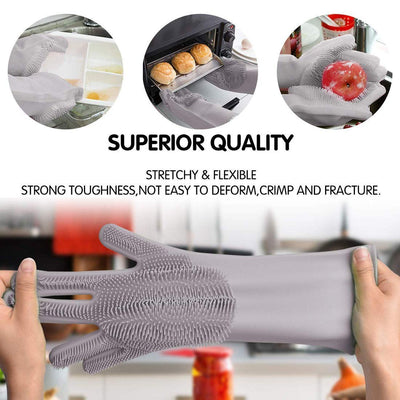 Magic Silicone Dish Washing Gloves (2 Piece) - Shop Square