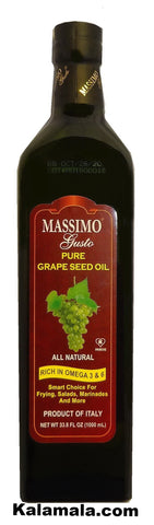 Pure Grape Seed Oil Massimo Gusto (2 Packs)(1 Liter Each)