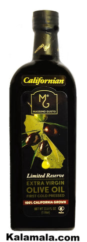 Extra Virgin California Grown Olive Oil Massimo Gusto (2 Packs)(1 Liter Each)
