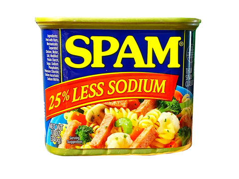 SPAM 25% Less Sodium, 12 oz Can (Mixed Meat)