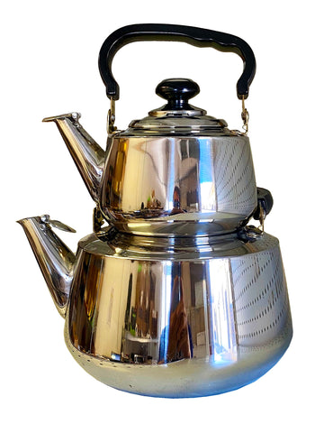 Double Kettle with Strainer, Stainless Steel (Ketri)