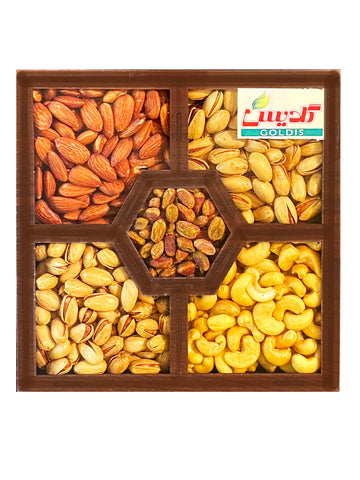 Mix Nuts Gift Pack Goldis In Wooden Box (Ajil Kadoee)