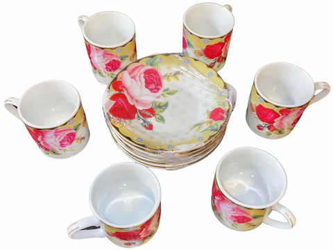Porcelain Coffee Set With Saucer (Set of 6)