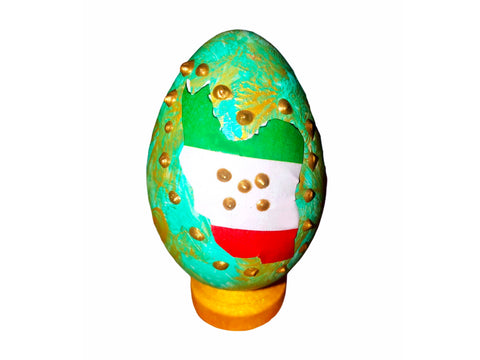 Haft sin Decorative handcrafted Plastic Egg With Stand #2 (Colored Egg)