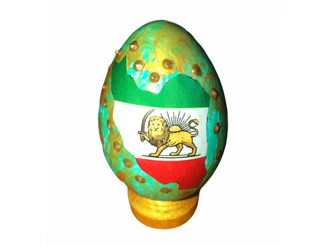 Haft sin Decorative handcrafted Plastic Egg With Stand #1 (Colored Egg)