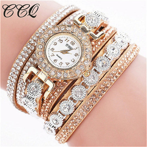 Ladies Watch With Rhinestones Clock Bracelet