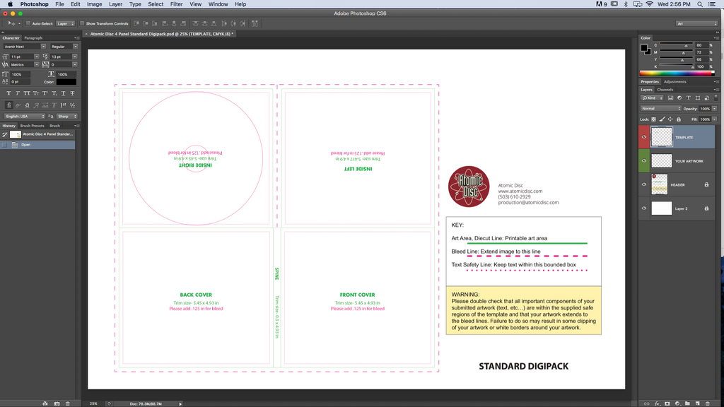 Digipack Template for Photoshop