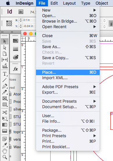 how to place files in indesign
