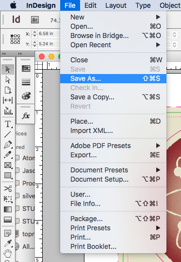 save as in indesign