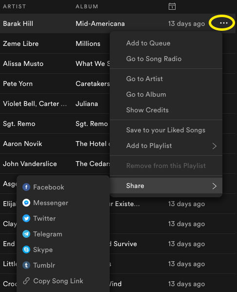 share spotify song link on desktop