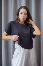 Black Knit Crop Sweater Top - SARAROSE