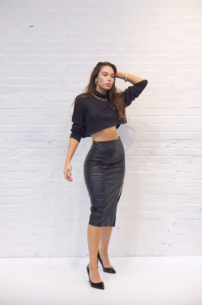 Vegan Leather Pencil Skirt - SARAROSE