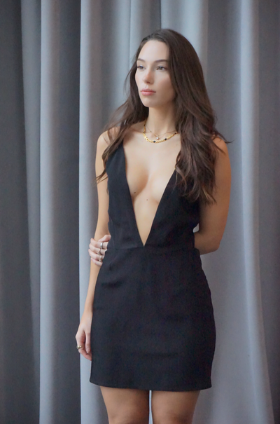 Layering Slip Dress- Black - SARAROSE