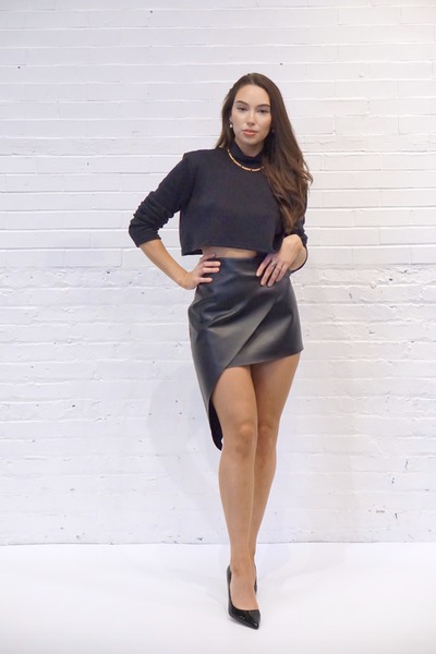 Vegan Leather Envelope Skirt - SARAROSE