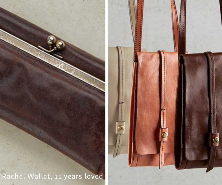 The Rachel wallet and Token crossbody in our Vintage Hide leather