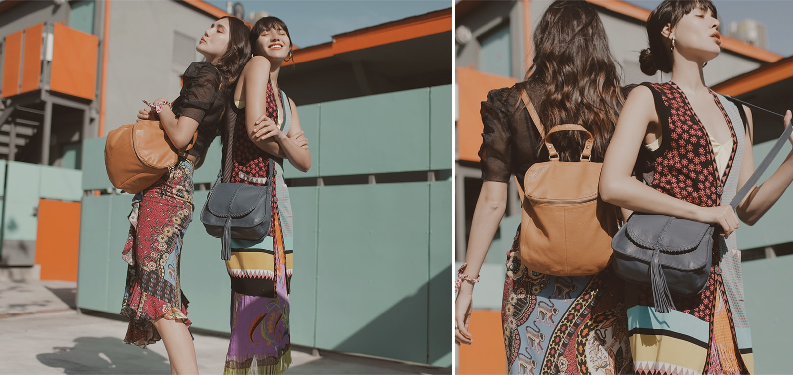 Dylana and Natalie Suarez with the River Backpack and Brio crossbody