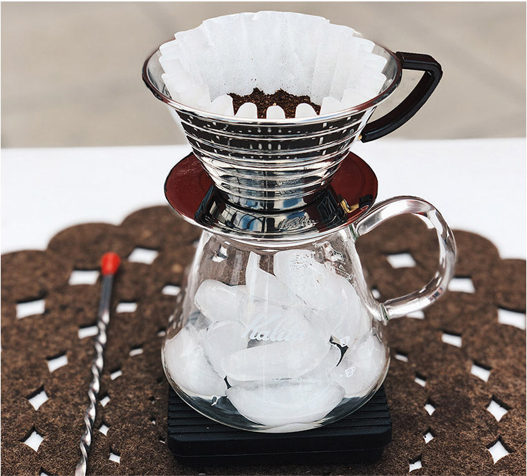 Prepping the Kalita, Iced Pour-over method