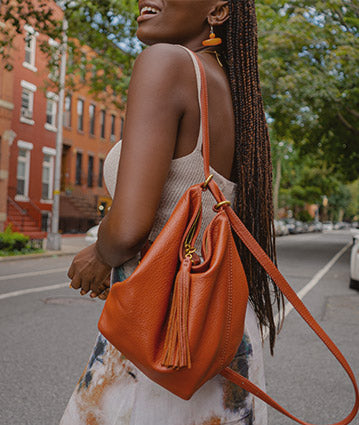 The  Coast backpack sling in our True Hide leather