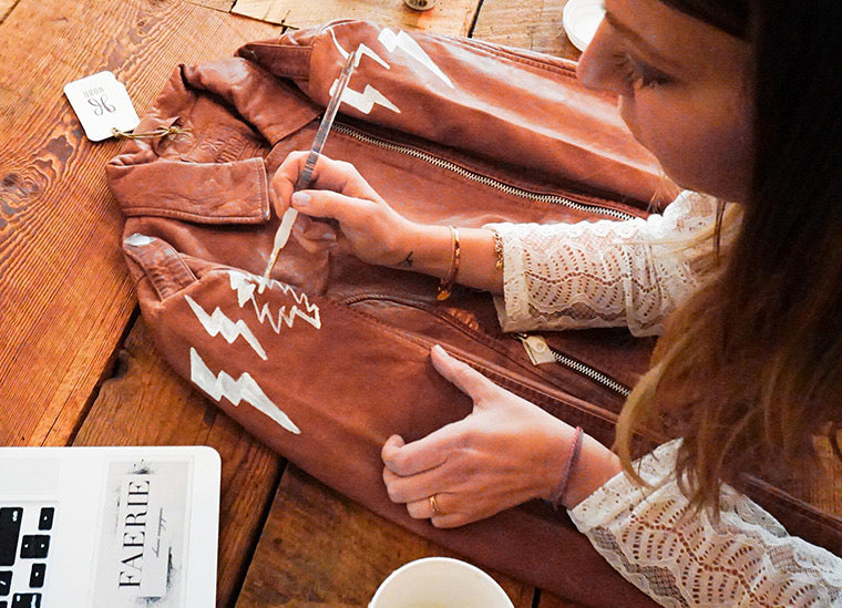 Hand painted Hobo leather jackets by Dallas Shaw