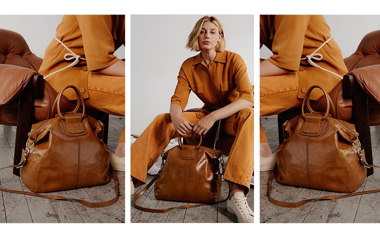 Shop the iconic Sheila handbag style in the new Vintage Hide leather color Truffle.