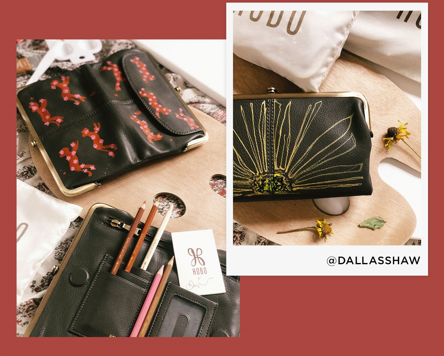 Shop limited edition Lauren wallets, hand painted by Dallas Shaw