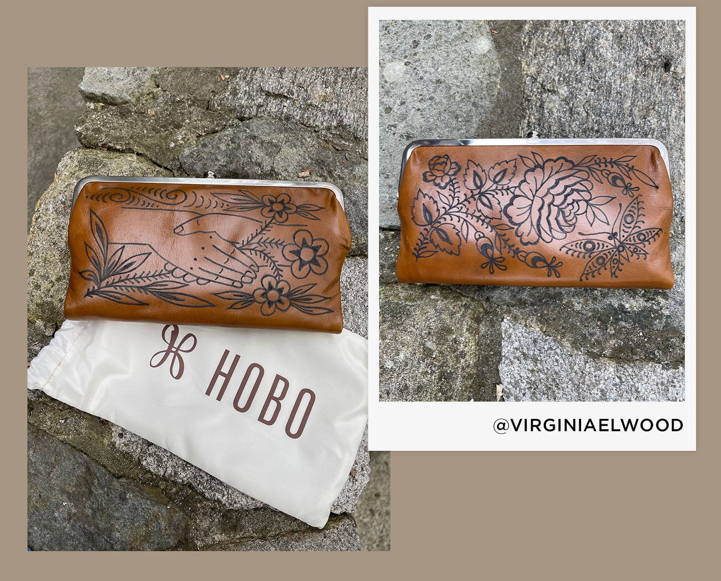 Shop limited edition Lauren wallets, hand Inked by Virginia Elwood