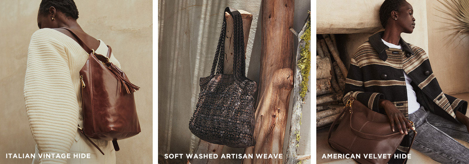 Shop New Fall Colors, introducing new leather handbags and wallets for Fall