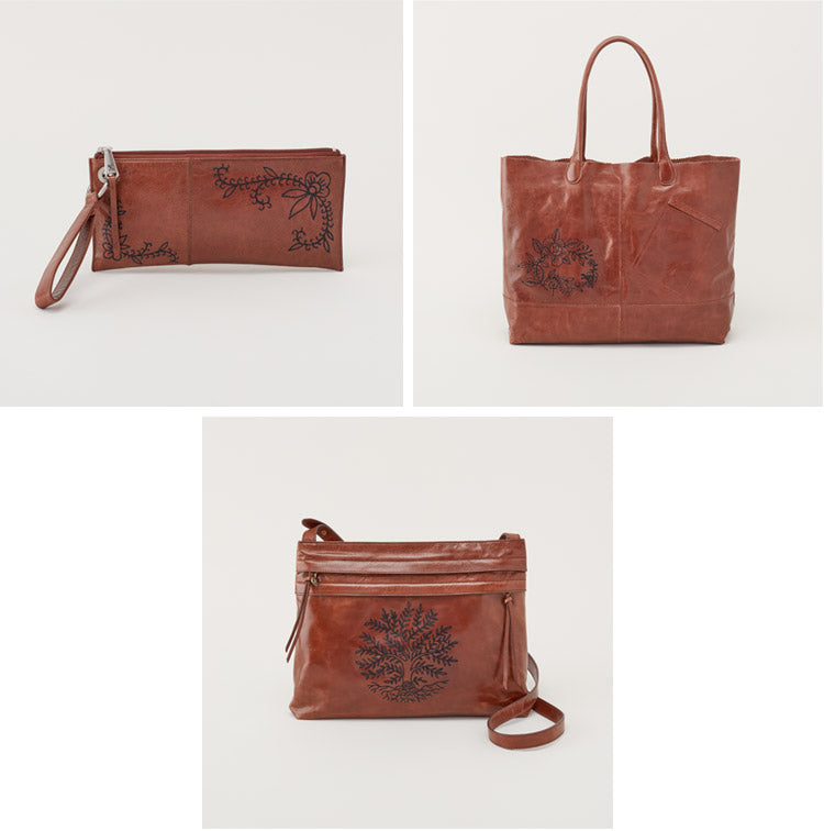 Leather Handbags from our first Artisan Series with Tattoo Artist Virginia Elwood