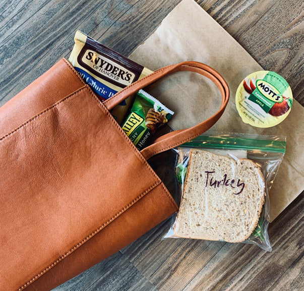 Mini leather totes perfect for lunch and more!