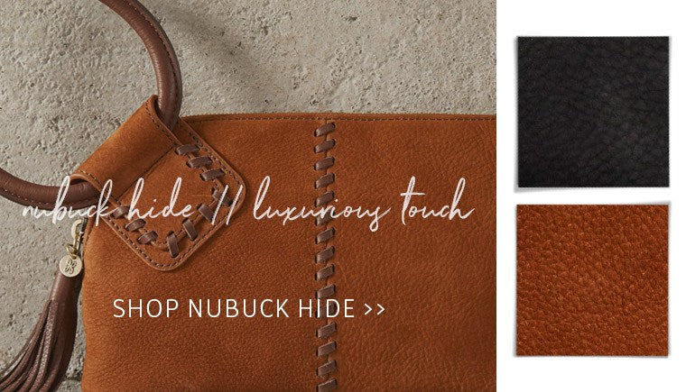 Shop our luxurious Nubuck Hide leather handbags