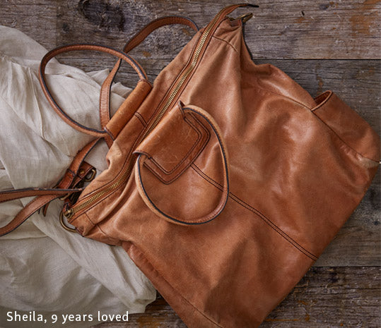 Leather gets better with use and wear, shown here with the Sheila handbag