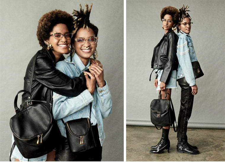 Eyewear designers Coco and Breezy with the leather River backpack and Fern crossbody bag