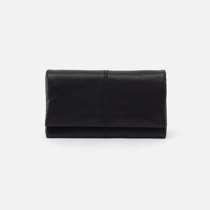 Black Keen Continental Wallet  Hobo  Velvet Pebbled Leather