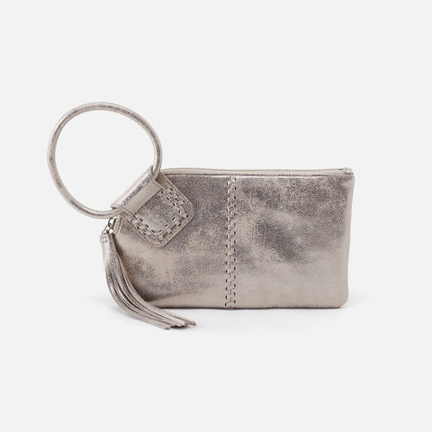 Distressed Platinum  Hobo Wristlet