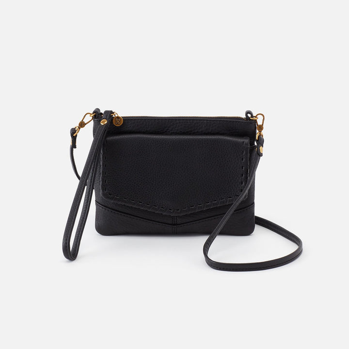 Black Stroll Crossbody  Hobo  Velvet Pebbled Leather