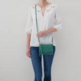 Garden Green Stroll Crossbody  Hobo  Velvet Pebbled Leather