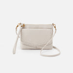 Powder White Stroll Crossbody Hobo  Velvet Pebbled Leather
